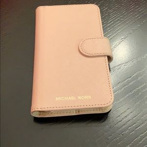 Michael Kors Leather IPhone X Folio Case Soft Pink